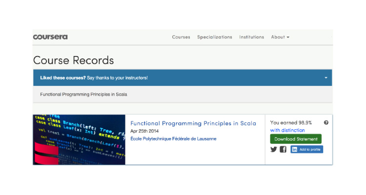Coursera A2P email screenshot