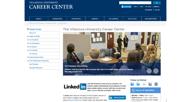 Villanova A2P website screenshot