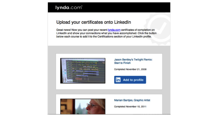 Lynda A2P email screenshot