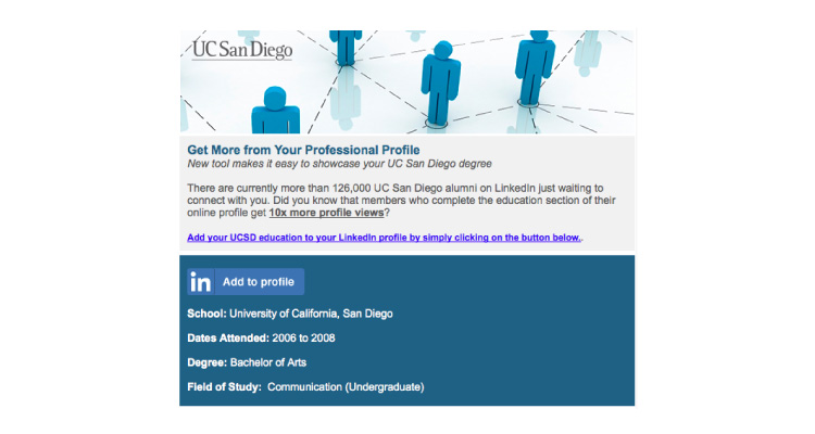 USCD A2P email screenshot