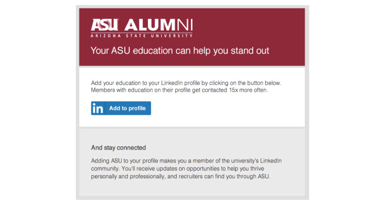 Arizona State University A2P email screenshot