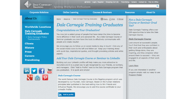 Dale Carnegie A2P website screenshot